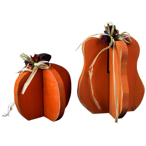 Christmas yard decorations - Pull Apart Wooden Pumpkin Decorations For Fall Autumn