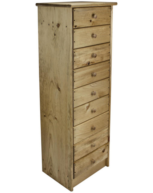9 Drawer Pine Chest Of Drawers Narrow Storage Cabinet