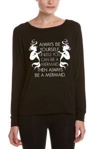 BLACK ALWAYS BE A MERMAID L/S OTS TOP