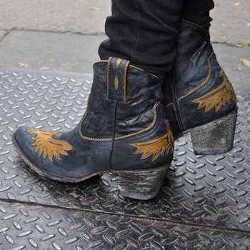 Golden Eagle Inlay Zip Blue Jeans Leather
