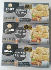 Alteza Turrón de Alicante 3 bars Spanish Almond delicacy 250g