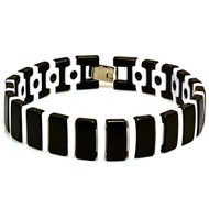 ADEQUO Black & White Ceramic Magnetic Ion 8.5 Inch Bracelet