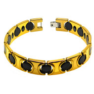 APEX Black & Yellow Gold Plated Ceramic 8.5 Inch Bracelet