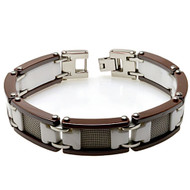 CANTUS White Ceramic White Gold Plated Mesh 8.5 Inch Bracelet