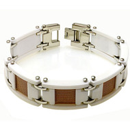 CIVICUS White Ceramic Rose Gold Plated Mesh 8.5 Inch Bracelet