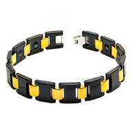 DIVISIO Black Ceramic Yellow Gold Plated 8.5 Inch Bracelet