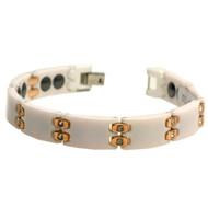 COLUBRA White Ceramic Rose Gold Cubic Zirconia 8.5 Inch Bracelet