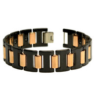 ARX Black Ceramic Rose Gold Stainless Steel 8.5 Inch Bracelet