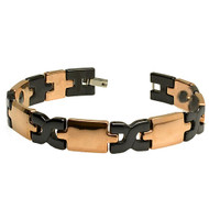 EMINEO Black Ceramic Rose Gold Magnetic Ion 8.5 Inch Bracelet