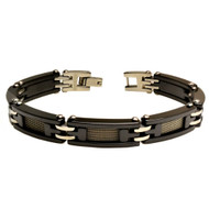EQUES Black Ceramic Stainless Steel Mesh 8.5 Inch Bracelet