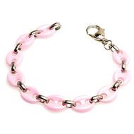 DULCIS Pink Ceramic Stainless Mariner Anchor 8.5 Inch Bracelet