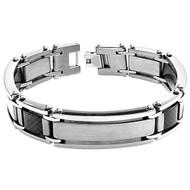 INCUDO Titanium Black Carbon Fiber Inlay ID 8.5 Inch Bracelet