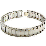 AURUM Tungsten Carbide With Gold Plated Accents Link Bracelet