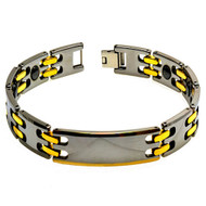 ASPERO Tungsten Carbide With Gold Plated Accents Link Bracelet