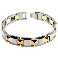 PYRAMIDA Tungsten Carbide Two Tone Rose Gold Plated Bracelet