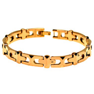 CHRISTUS Tungsten Carbide Rose Gold Cross Bracelet