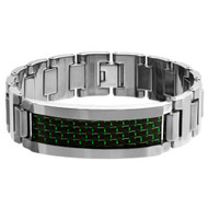 LUCUS Tungsten Carbide Bracelet Green & Black Carbon Fiber Inlay