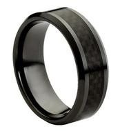 "Ceramic Ring With ""Black Carbon Fiber Inlay"""