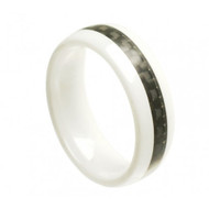 "White Ceramic Ring With ""Black Carbon Fiber Inlay"""