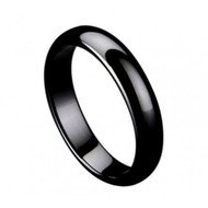"Black Ceramic ""Domed Ring"" High Polished"