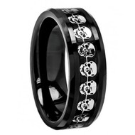 Black Carbon Fiber & Cut-Out Skull Symbol Inlay Beveled Edge