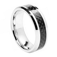 "Cobalt Chrome Ring With ""Black Carbon Fiber Inlay"""