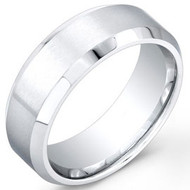 Cobalt Chrome Wedding Band Ring Matte Brushed center