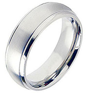 Cobalt Chrome Wedding Band Ring Brsuhed Center finished