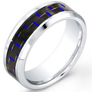 "Cobalt Chrome Ring With ""Blue Carbon Fiber Inlay"""