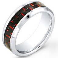 "Cobalt Chrome Ring With ""Red Carbon Fiber Inlay"""