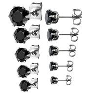 316L Stainless Steel Round Black Cubic Zirconia Stud Earrings EAR-