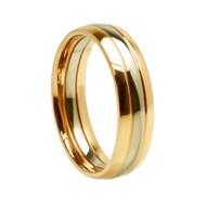 "Titanium ""Two Tone Gold"" Wedding Band Ring"