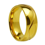 Titanium Gold Wedding Band Ring with High Polished Domed finished
