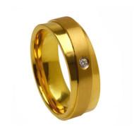 Titanium Gold Wedding Band Ring with Two-tone Raised Overlap Diagonal-Split