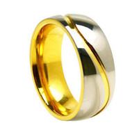 Titanium Gold Wedding Band Ring with highly polished Titanium