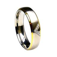 Titanium Gold Wedding Band Ring