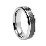 "Titanium ""Black Carbon Fiber Wedding Band Ring"""