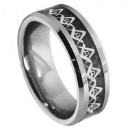 Titanium Masonic Symbol Inlay over Black Carbon FiberInlay