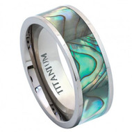 Titanium Ring Pipe Cut with Rainbow Rippled Abalone Inlay