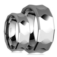 His & Hers Polish Tungsten Rings Set