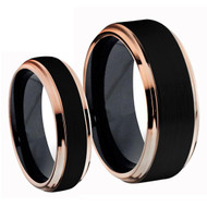 Titanium Black Rose Gold Ring Set