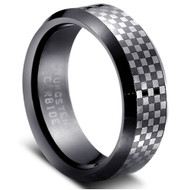 "Tungsten Ring "" Black Matt & polished"""