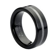 "Tungsten Ring "" Black and Polished """