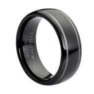 "Tungsten Ring "" Classic Black High Polished"""