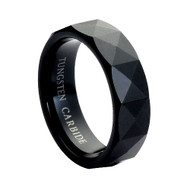 Black Faceted Tungsten Ring