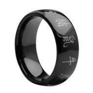 Black Enamel Tungsten Ring