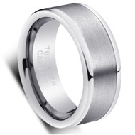 Tungsten Shiny Brushed Ring