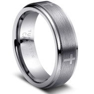 Tungsten Brushed Crosses Ring