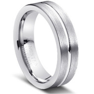 Tungsten Center Brushed Ring