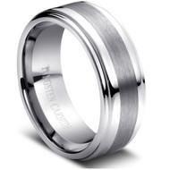 Tungsten Brushed Ring Brushed Center High Polish